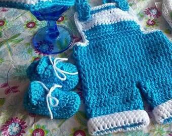 Crochet newborn coverall photography prop, crochet coveralls, matching crochet newspaper boy hat and match sboes, 3pc baby boy photo prop