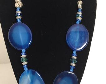 Big Blue Bold Bombshell Stone necklace