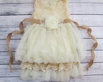 Ivory Rustic Flower Girl Dress, Ivory Rosette Dress, Ivory Flower Girl Dress