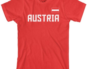 Austria National Team Men's T-shirt Austrian Republic Soccer Vienna Football Alps Alpine Flag - TA_00251