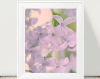Lilac print, pastel art, lilac flower photograph, pale lavender floral wall decor, bedroom picture, floral print 12x12, 11x14 nursery art