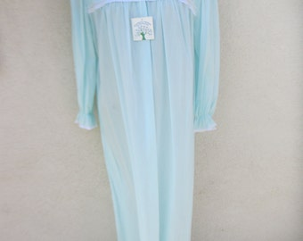 60's Ladies 'Barbizon' Long Sleeve, Button Up, Lace Decorated, Baby Blue Nightie