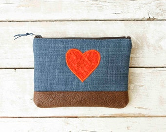 Cosmetic Pouch In Blue, Heart Zipper Pouch , Vegan Make Up Bag , Valentines Gift , Cosmetic Bag ,Toiletry Bag , Blue Pencil Case ,Travel Bag