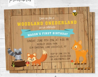 Rustic woodland One-derland Birthday Party Invitation - Woodland Friends First Birthday - Digital File