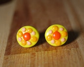 Flower Earrings - Colourful Earring - Yellow Jewellery - Valentines Gift - Gifts for Her - Polymer Clay Earrings - Studio Pickles