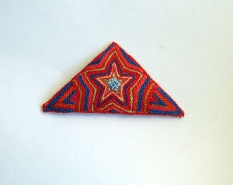 Hand Embroidered Red Triangle Brooch, Exploding Star, Textile Art