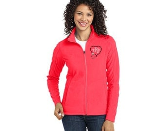 Personalized Monogrammed Stethoscope Full-Zip LADIES Fleece Jacket Custom  Embroidered Initials Nurse Nursing Medical Doctor