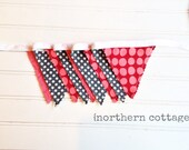 BANNER BuNTiNG, GaRLaND, 8.5+ ft Banner // Ready to Ship // Bunting Banner // Red, Grey // Nursery Decor, Kids Room // PHOTO PROP
