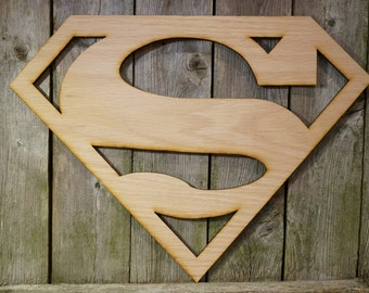 Superman logo wall hanging sign/gift/cutout/laser/door/decor/unfinished/wood/laser