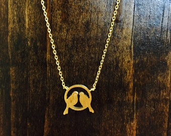 Love Birds Gold Pendant Necklace