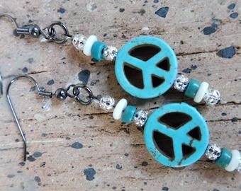 Hippie Earrings, Festival Earrings, Peace Sign Jewelry, Hypo Allergenic Earrings, Long Earrings, Gift Idea, Unique Jewelry, Gift for Her