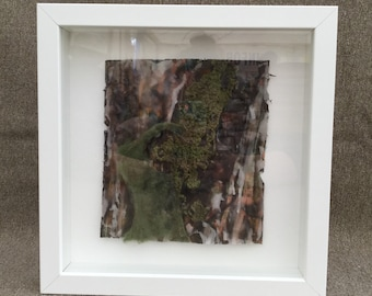 Mixed Media Framed Artwork, based on forest/woodland tree bark using wax, felting, dye and paper mache.