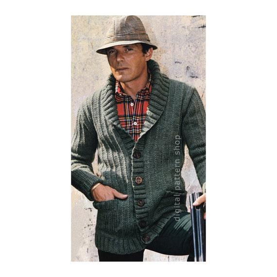 Xl Sweater Knitting Pattern : Mens knit cardigan pattern sweater jacket knitting