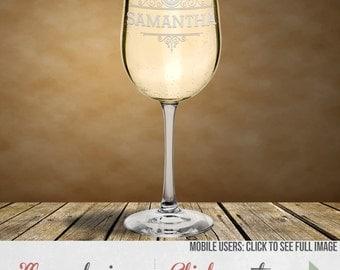 Personalized White Wine Glass - Perfect for Bride