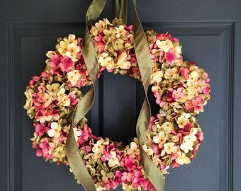New Home Housewarming Gift Ideas | Handmade Wreaths | Blended Hydrangea  Wreath | Front Door Wreaths