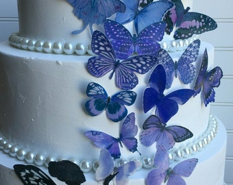 Edible Butterflies Lavender Purple with or without Fairy Cake/Cupcake topper