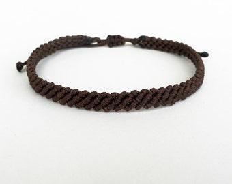 Brown bracelet,Men surfer bracelet,Macrame bracelet,Minimalist,Friendship bracelet,Thin wristband,Boyfriend gift,Adjustable,Knotted jewelry