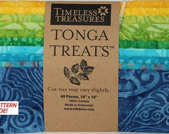 "Tonga Treats 10"" Batik Fabric Squares; Tonga Jelly Bean; Timeless Treaures; Precut Fabric; Jelly Bean Batik; 40 pcs; Fabric Squares"