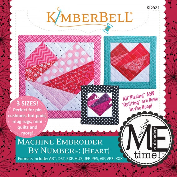 Kimberbell Machine Embroider By Number Heart 3 Sizes