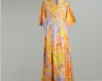 60's Vintage  Tori Richard Laui Kai Long Sleeve Maxi Dress Size 14