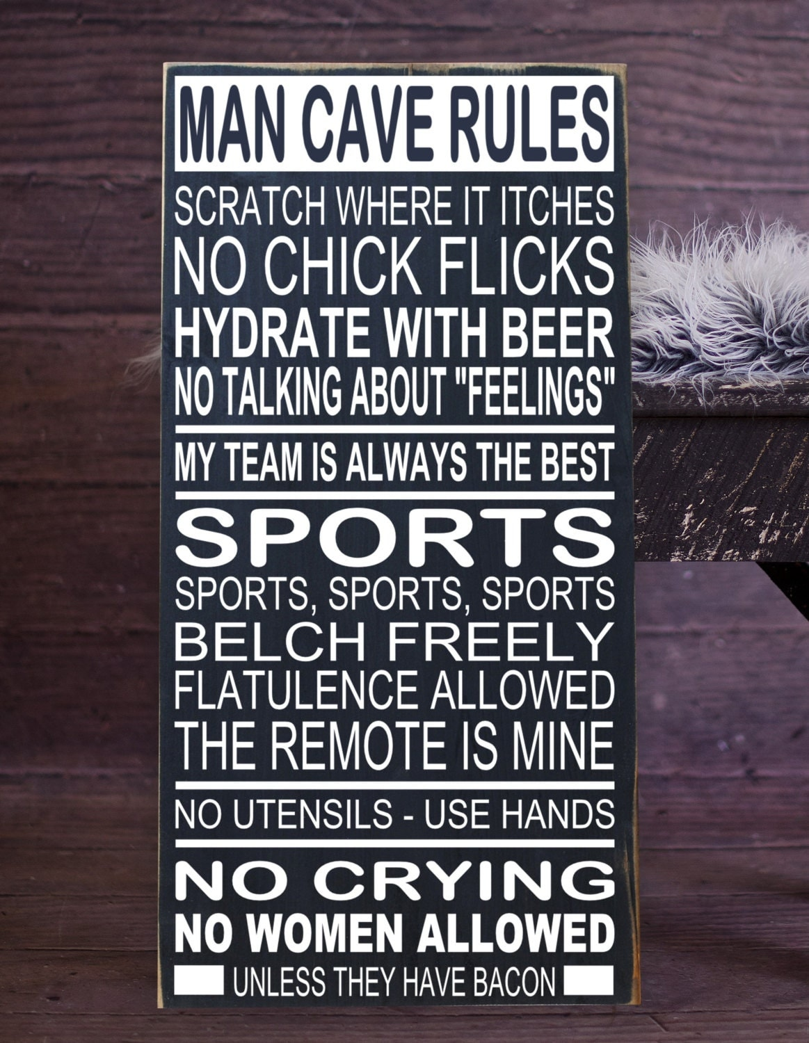 Man Cave Rules Artwork : Man cave rules subway art vinyl wood sign