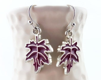 Fall Earrings - Fall leaves earrings - Fall leaf earrings - Fall Jewelry - Maple leaves - oak leaf earrings - oak leaves - purple earrings
