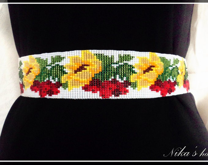 Ethnic beaded belt with sunflowers and viburnum berries, traditional pattern, summer accessory, colorful woven belt, red-yellow belt