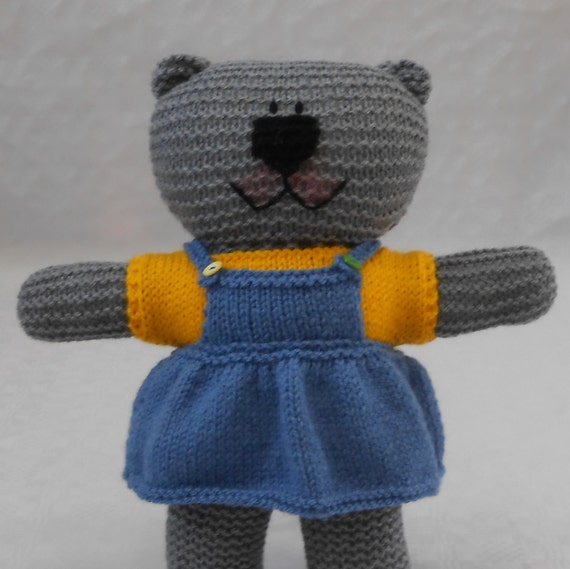 Knitting Patterns For Teddy Bear Outfits : Knit Girl Teddy Bear Outfit PDF Knitting Pattern with ...