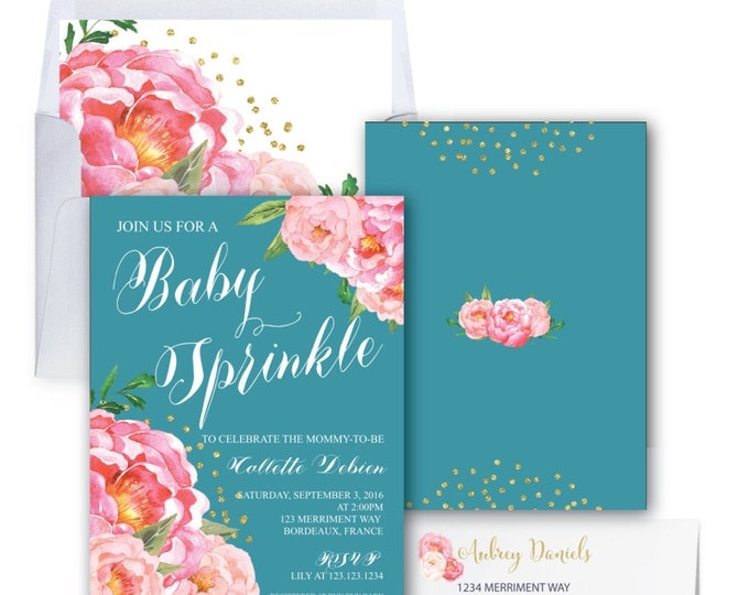 Teal Baby Shower Invitation // Peony Invitation // Floral // Peonies // Aqua // Baby Spinkle // Pink // Gold Glitter // BORDEAUX COLLECTION