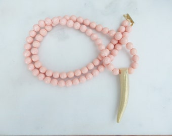 Faceted Coral and Gold Antler Necklace / Long Necklace / Layering Necklace / Antler Necklace