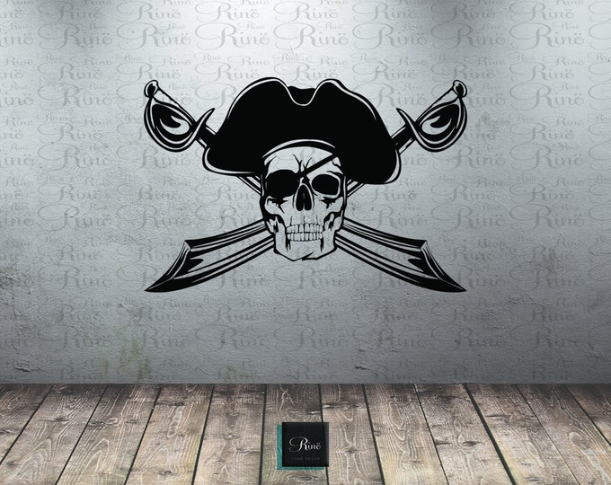 Pirate Wall Decal - Pirate Nursery Decal - Pirate Sticker - Pirate Decor - Pirate Decal Cross sword pirates skull boys bedroom pirates life