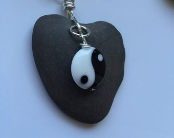 Heart Rock Pendant with black and white round Yin Yang bead wire wrapped with Silver wire on silver box chain of your choice.