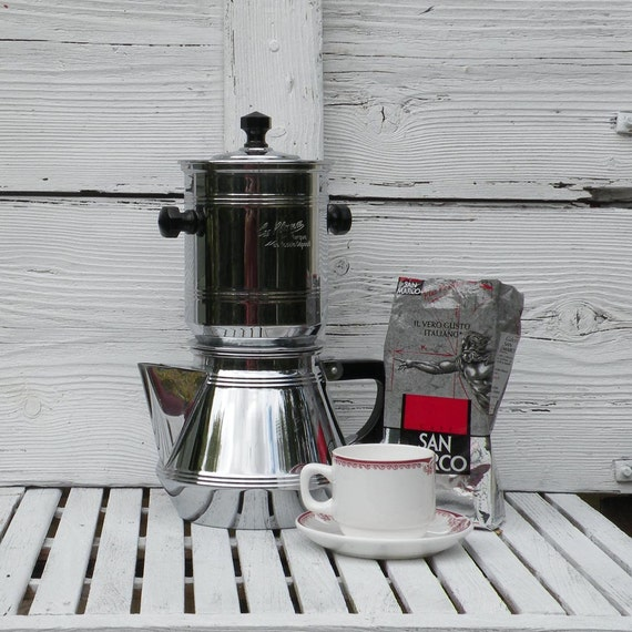French Vintage Chrome Cafetiere Art Deco Coffee By