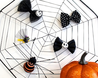 Halloween Hair Bow Headband or Clip - Black Polka Dot - Satin - Glitter Tulle - Jack Skeleton - Black Witch Kitty Cat