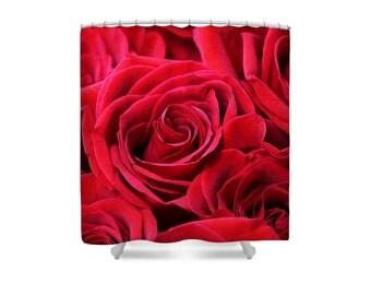 Rose Shower Curtain, Red Shower Curtain, Red Roses, Bathroom Decor, Red Bathroom, Rose Decor,Rose Bathroom,Rose Bathroom Decor, Flower Decor