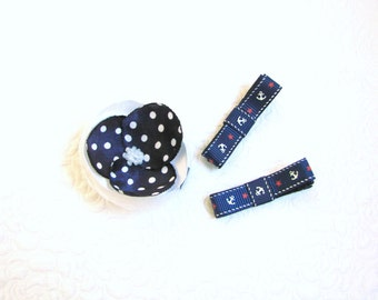 Navy blue hair clips, Baby non-slip clips, Flower baby clip, Toddler hair clips, Gift for baby, Anchor hair clips, Baby hair clip set
