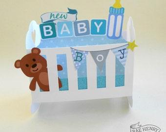 Pop Up New Baby Boy Card 3 D Rocking Cot Crib Handmade Blue Baby Shower