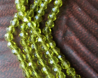 6mm olive green round glass faceted beads------FULL  STRAND