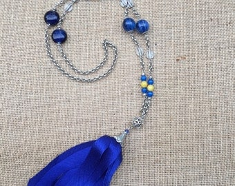 Long Tassel Necklace in Royal Blue and Gold Tones