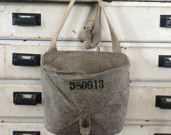 US Army Canvas Carrier Bag/Handbag/Shoulder Bag/Purse, Military Gray Canvas Bag, Gray Motif, Adjustable Cloth Strap