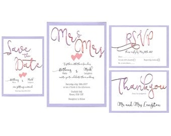 Watercolour Wedding Stationary (Set of 10)