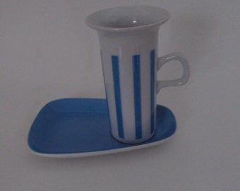 Lagardo Tackett for Schmid Porcelain Blue and White Cup and Saucer 1960s