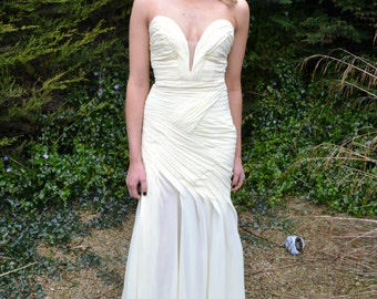 Sample Sale 'Elle' strapless sweetheart plunging backless wedding dress evening gown buttermilk yellow cream