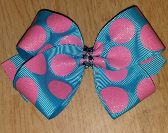 Glitter Polka-dot Hair Bows - Medium Hair Bows