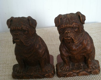 Bulldog Bookends Mid Century Vintage Bookends Bulldog Pet Book Lover OrnaWood Faux Bois Brown 1960s Home Decor Dog Bookends Library