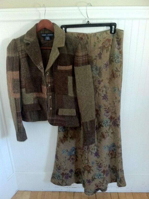 Ralph Lauren Jacket Patchwork Wool Quilt Vintage Heritage Polo
