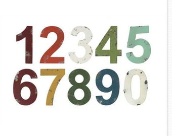 Distressed Metal Numbers