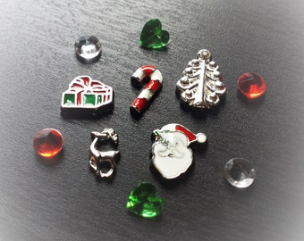 Set of Christmas Floating Charms for Large Floating Lockets-Gift Idea