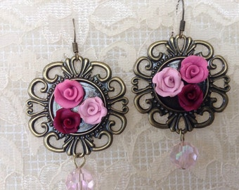 Trio of handmade roses, pink, rose, cranberry