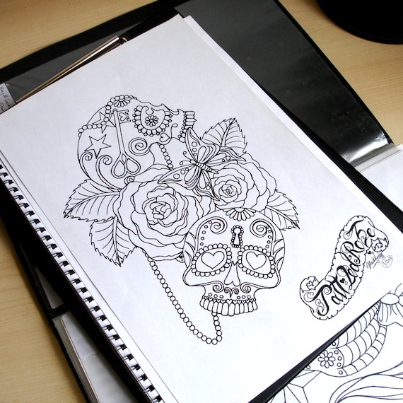 Tattoo Coloring Page, Adult Colouring Page, Sugar Skull Key & Lock ...